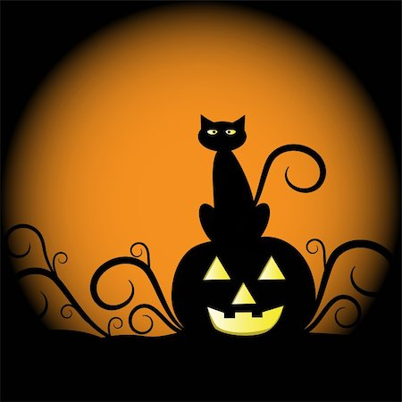 Spooky scary halloween cat and pumpkin Stock Photo - Budget Royalty-Free & Subscription, Code: 400-05671472