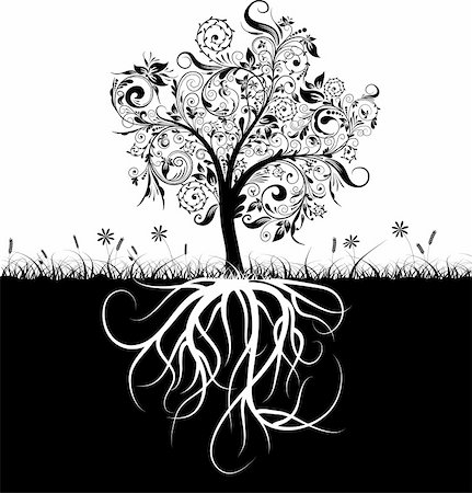 Decorative tree and roots, grass, vector illustration Stock Photo - Budget Royalty-Free & Subscription, Code: 400-05671923