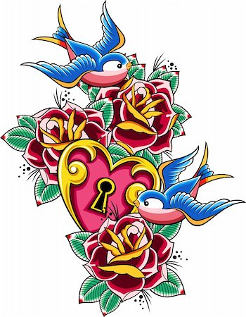 sparrow tattoo Stock Photo - Budget Royalty-Free & Subscription, Code: 400-05672022