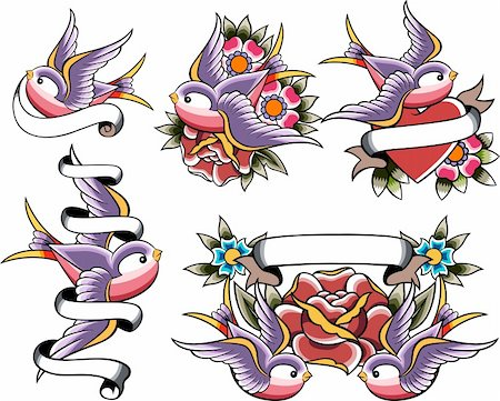swallow tattoo icon set Stock Photo - Budget Royalty-Free & Subscription, Code: 400-05672344