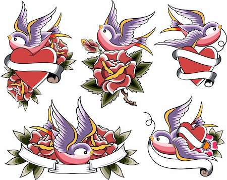 swallow tattoo icon set Stock Photo - Budget Royalty-Free & Subscription, Code: 400-05672345