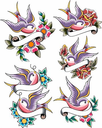 swallow tattoo icon set Stock Photo - Budget Royalty-Free & Subscription, Code: 400-05672347