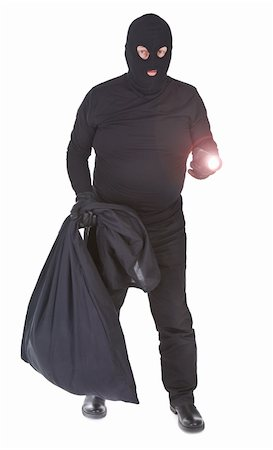 robber with flashlight and sack isolated on whitebackground Stock Photo - Budget Royalty-Free & Subscription, Code: 400-05672527
