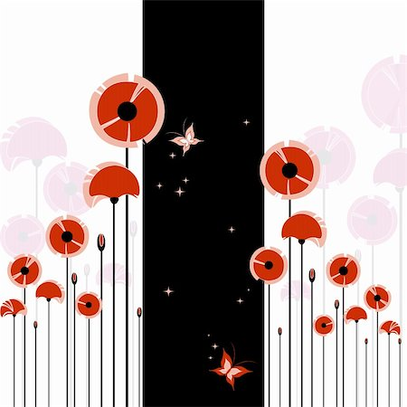 pretty pink star white background - Abstract red poppy and butterfly on black and white background Stock Photo - Budget Royalty-Free & Subscription, Code: 400-05672846