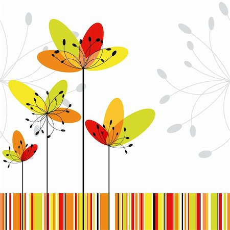 Springtime greeting card abstract flower on colorful stripe background Stock Photo - Budget Royalty-Free & Subscription, Code: 400-05672842