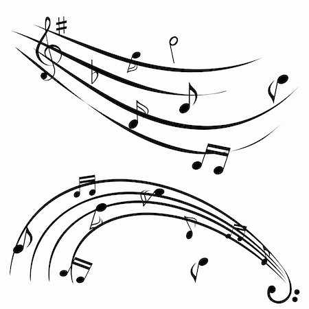 swirl graphic score - Music notes on white background Stock Photo - Budget Royalty-Free & Subscription, Code: 400-05672873