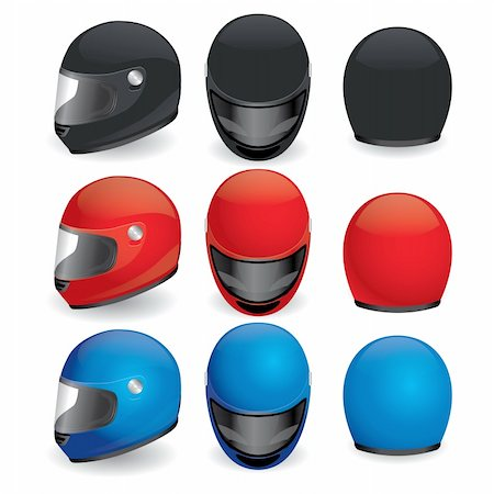 sports scooters - Vector illustration of motorcycle helmet. Black, red and blue set Stock Photo - Budget Royalty-Free & Subscription, Code: 400-05673152