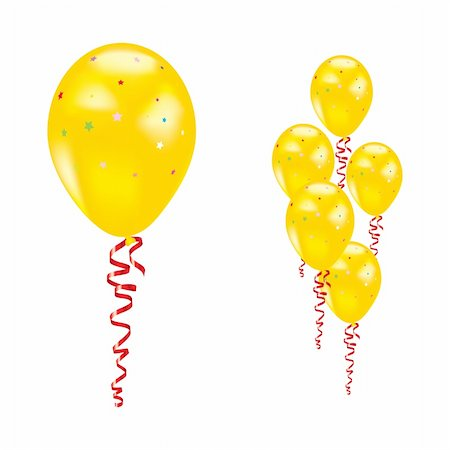 simsearch:400-04369855,k - Yellow balloons with stars and ribbons. Vector illustration. Stock Photo - Budget Royalty-Free & Subscription, Code: 400-05673165