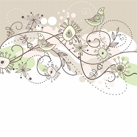 cute vector background with flowers and birds Stock Photo - Budget Royalty-Free & Subscription, Code: 400-05673395