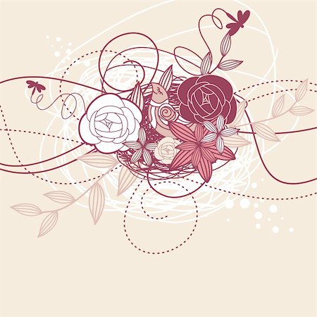 decoration wedding rose vintage - abstract cute card with bird and flowers Stock Photo - Budget Royalty-Free & Subscription, Code: 400-05673392