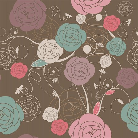 seamless romantic wallpaper with roses vector illustration Stock Photo - Budget Royalty-Free & Subscription, Code: 400-05673410