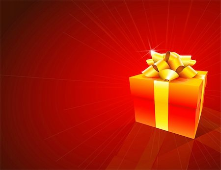 Red background with red gift box and gold bow Stock Photo - Budget Royalty-Free & Subscription, Code: 400-05673598