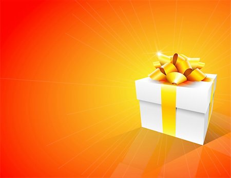 Orange background with white gift box and gold bow Stock Photo - Budget Royalty-Free & Subscription, Code: 400-05673599