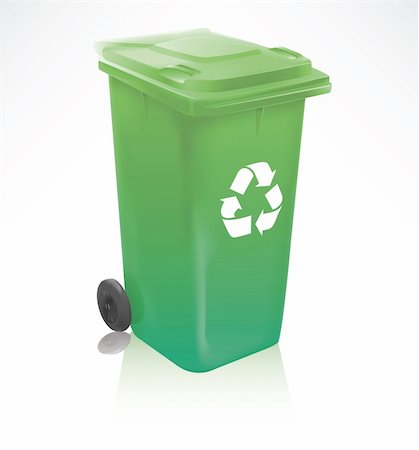 Modern green recycle bin isolated on white Stock Photo - Budget Royalty-Free & Subscription, Code: 400-05673610