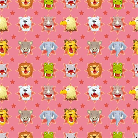 roar lion head picture - cartoon angry animal face seamless pattern Stock Photo - Budget Royalty-Free & Subscription, Code: 400-05673854