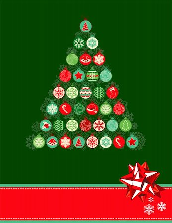 Stylized Christmas tree made of various contour balls Stock Photo - Budget Royalty-Free & Subscription, Code: 400-05684199