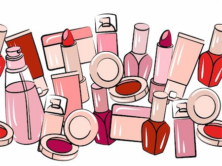 Various cosmetics in seamless horizontal border on white Stock Photo - Budget Royalty-Free & Subscription, Code: 400-05684208