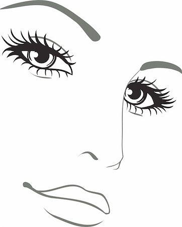 retro beauty salon images - beautiful woman face vector portrait Stock Photo - Budget Royalty-Free & Subscription, Code: 400-05685023