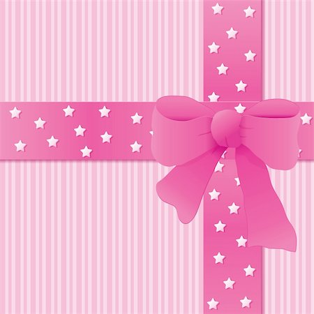 Card for greeting or congratulation with the pink bow. Vector illustration eps 10.0 Stock Photo - Budget Royalty-Free & Subscription, Code: 400-05685077