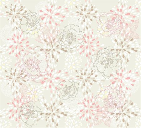 peony in vector - Seamless cute floral pattern. Background with spring or summer flowers. Stock Photo - Budget Royalty-Free & Subscription, Code: 400-05685173
