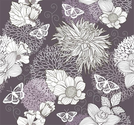 peony illustrations - Seamless pattern with flowers and butterfly. Floral background. Stock Photo - Budget Royalty-Free & Subscription, Code: 400-05685186