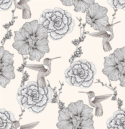 peony in vector - Seamless pattern with flowers and birds. Floral background. Stock Photo - Budget Royalty-Free & Subscription, Code: 400-05685180