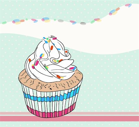 Cute birthday card with cupcake Stock Photo - Budget Royalty-Free & Subscription, Code: 400-05685196