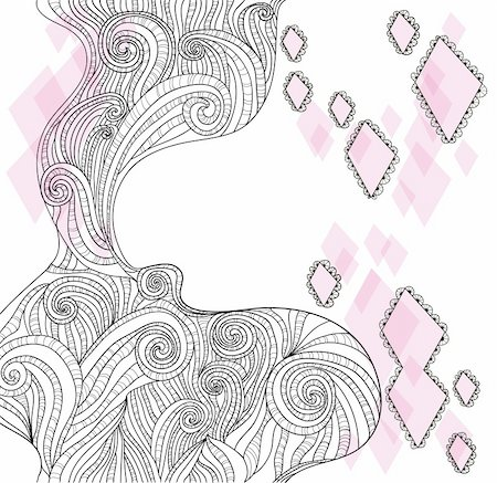 drawn curved - Abstract hand-drawn doodle background Stock Photo - Budget Royalty-Free & Subscription, Code: 400-05685199
