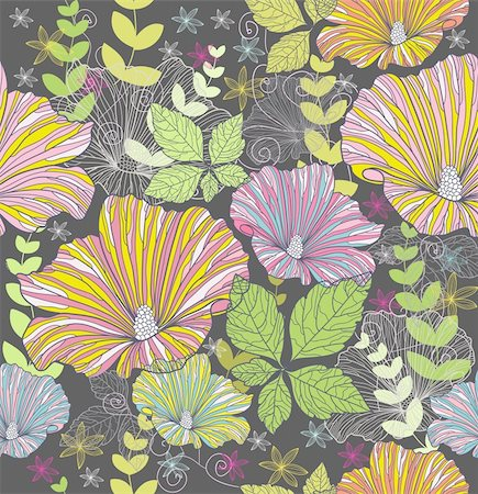 Seamless colorful floral pattern. Background with flowers and leafs. Stock Photo - Budget Royalty-Free & Subscription, Code: 400-05685192