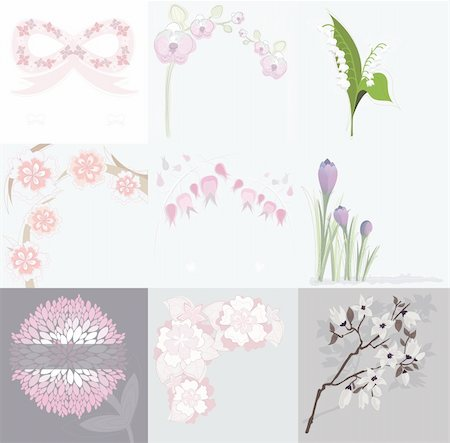 peonies background - Set of various floral background greeting or birthday cards and invitations with orchids, lilly of the valley, peonies, crocus, cherry blossom, spring and summer flowers Stock Photo - Budget Royalty-Free & Subscription, Code: 400-05685209