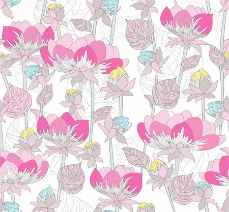 Seamless pink pattern with flowers. Floral background . Stock Photo - Budget Royalty-Free & Subscription, Code: 400-05685226
