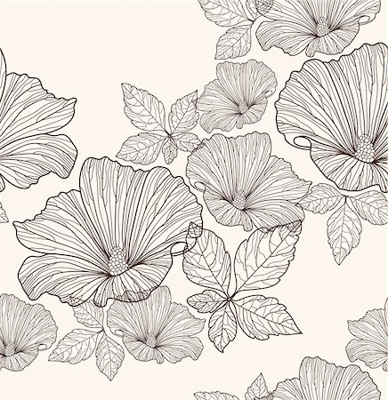funky flower designs - Seamless floral pattern. Background with flowers and leafs. Stock Photo - Budget Royalty-Free & Subscription, Code: 400-05685221