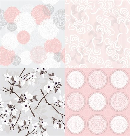 peony illustrations - Set of seamless floral patterns with spring or summer flowers and cherry blossom. Stock Photo - Budget Royalty-Free & Subscription, Code: 400-05685223