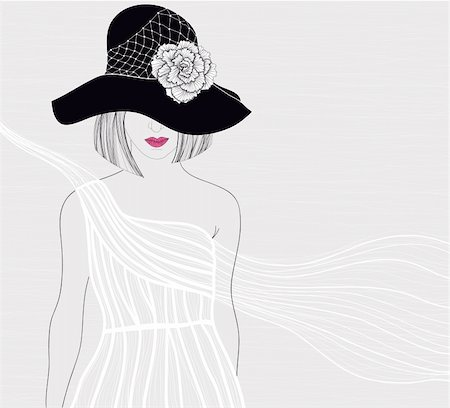 Elegant background with women in beautiful white dress. Female with hat and flower on it. Fashion illustration. Stock Photo - Budget Royalty-Free & Subscription, Code: 400-05685236
