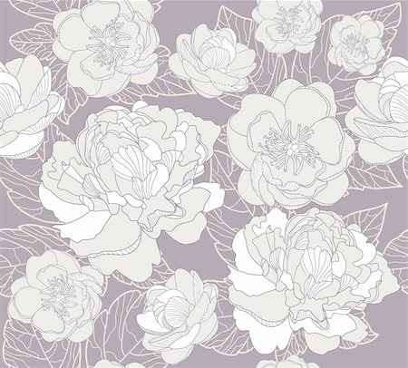 peony in vector - Seamless floral pattern. Background with peonies and cherry blossom flowers. Stock Photo - Budget Royalty-Free & Subscription, Code: 400-05685245
