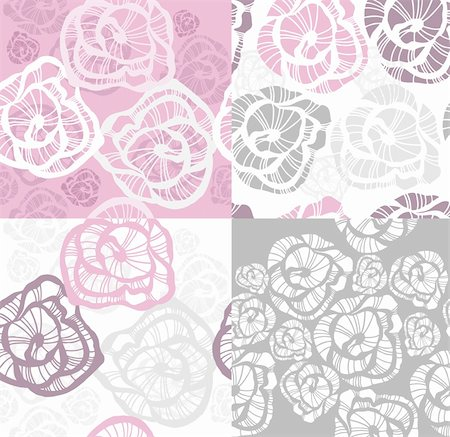 peony design vector - Abstract seamless flower rose pattern set. Stock Photo - Budget Royalty-Free & Subscription, Code: 400-05685249