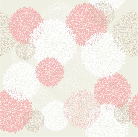 peony in vector - Seamless cute spring or summer flowers pattern Stock Photo - Budget Royalty-Free & Subscription, Code: 400-05685258