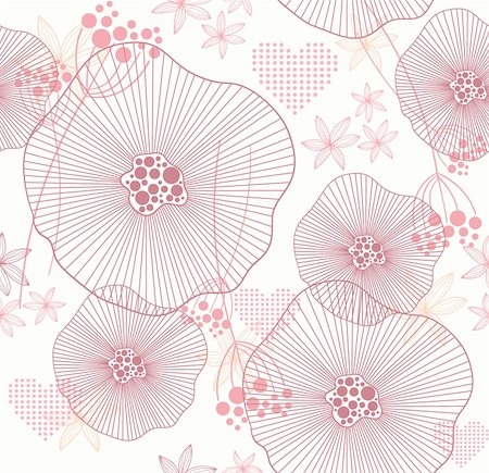 funky flower designs - Cute pink seamless pattern with flowers and hearts Stock Photo - Budget Royalty-Free & Subscription, Code: 400-05685253