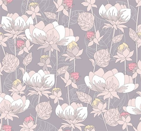 peony in vector - Seamless pastel floral pattern. Background with flowers Stock Photo - Budget Royalty-Free & Subscription, Code: 400-05685267