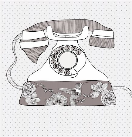 Background with retro telephone. Vector vintage illustration. Telephone with flowers and birds. Phone with floral pattern. Stock Photo - Budget Royalty-Free & Subscription, Code: 400-05685291