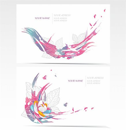 funky flower designs - Vector business card set with floral elements. Backgrounds with flowers and leafs. Stock Photo - Budget Royalty-Free & Subscription, Code: 400-05685293
