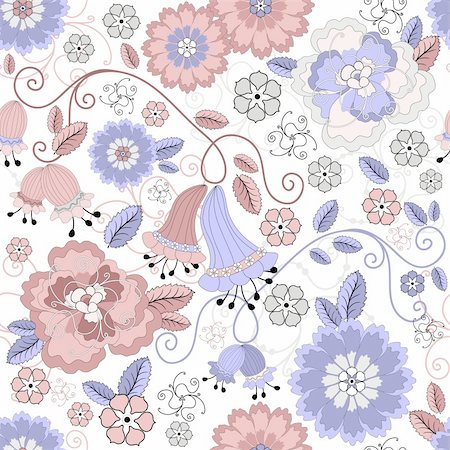 seamless floral - Gentle white seamless pastel floral pattern with pink and blue flowers (vector) Stock Photo - Budget Royalty-Free & Subscription, Code: 400-05686099