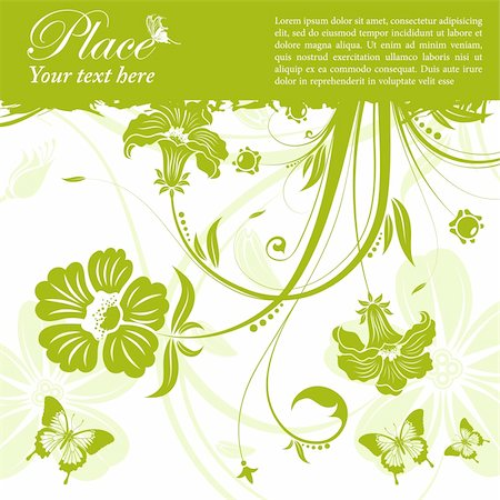 Grunge floral frame with butterfly, element for design, vector illustration Stock Photo - Budget Royalty-Free & Subscription, Code: 400-05686187