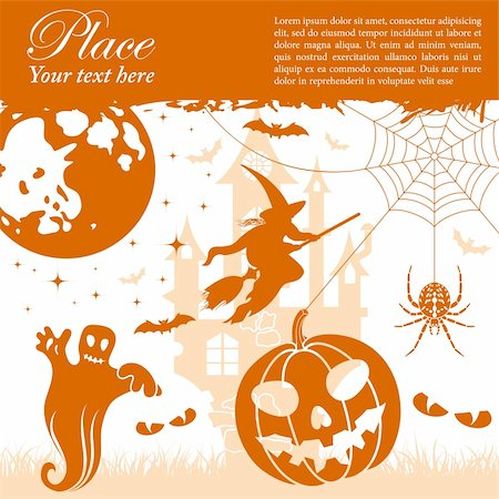 Grunge halloween frame with bats, pumpkin and spider, vector illustration Stock Photo - Budget Royalty-Free & Subscription, Code: 400-05686191