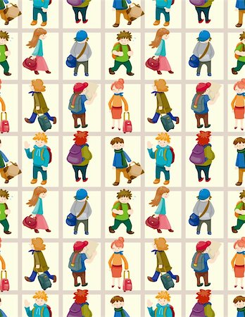cartoon travel people seamless pattern Stock Photo - Budget Royalty-Free & Subscription, Code: 400-05686243