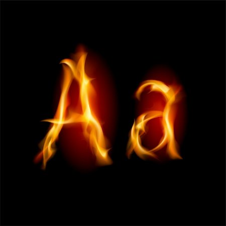 smoke magic abstract - Fiery font. Letter A. Illustration on black background Stock Photo - Budget Royalty-Free & Subscription, Code: 400-05686976