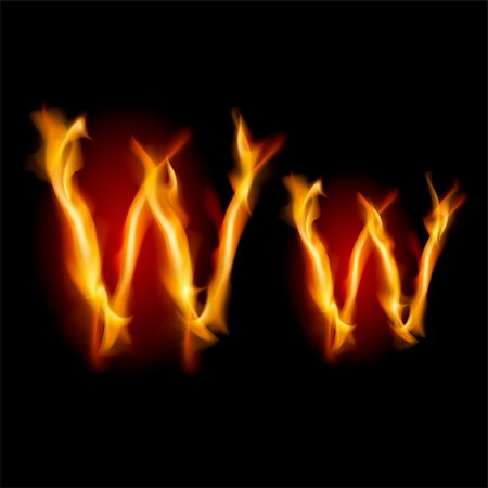 smoke magic abstract - Fiery font. Letter W. Illustration on black background Stock Photo - Budget Royalty-Free & Subscription, Code: 400-05686981