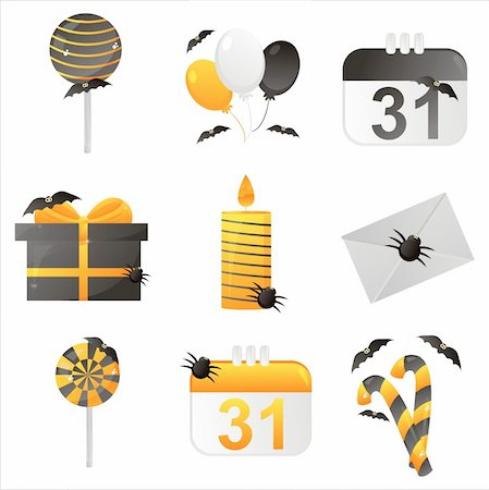set of 9 halloween icons Stock Photo - Budget Royalty-Free & Subscription, Code: 400-05687002