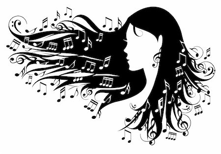 woman with music notes in her hair, vector illustration Stock Photo - Budget Royalty-Free & Subscription, Code: 400-05687214