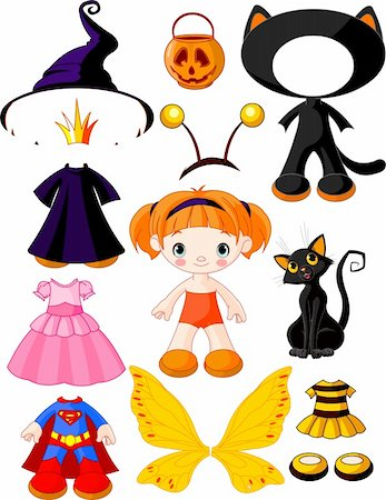 pretty in black clipart - Paper Doll with three dresses for Halloween Party Stock Photo - Budget Royalty-Free & Subscription, Code: 400-05687797